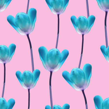 blue and green: Realistic tulips seamless pattern, Repeating surface pattern with beautiful realistic 3D tulips for all web and print purposes. Stock Photo