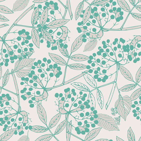 blue berry: Classic botanical seamless pattern with creeper leaves and berries in elegant color palette, repeating surface pattern for all web and print purposes.