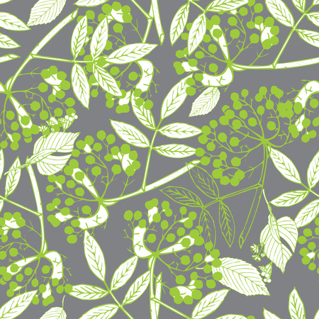 creeper: Classic botanical seamless pattern with creeper leaves and berries in elegant color palette, repeating surface pattern for all web and print purposes.