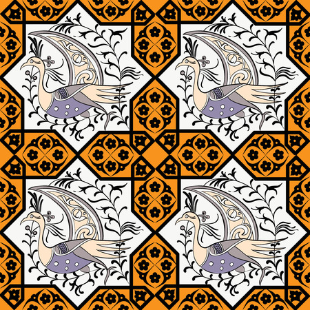 anatolian: Seljuk-Turkish style Iznik tile seamless pattern design with stylized bird in octonal composition and floral decorations, repeating surface pattern for all web and print purposes. Illustration