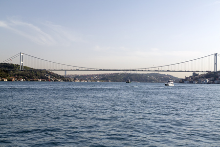 separates: View of the Bosphorus from Emirgan Coast. The Bosphorus is the strait that separates Europe and Asia continents in Istanbul city, Turkey. Editorial