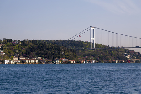 bogazici: View of the Bosphorus from Emirgan Coast. The Bosphorus is the strait that separates Europe and Asia continents in Istanbul city, Turkey. Editorial