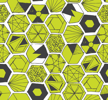 lime: Seamless pattern design with hand drawn doodle hexagons, various zen shapes sloppy lines and geometric ornaments, perfect for all web and print purposes.