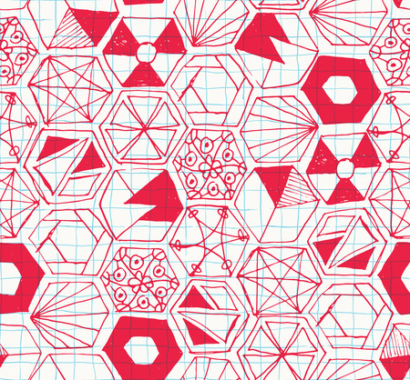 sloppy: Seamless pattern design with hand drawn doodle hexagons, various zen shapes sloppy lines and geometric ornaments on checkered background, perfect for all web and print purposes.