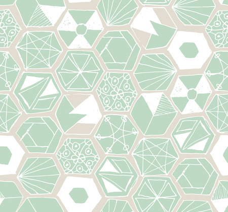 sloppy: Seamless pattern design with hand drawn doodle hexagons, various zen shapes sloppy lines and geometric ornaments, perfect for all web and print purposes.