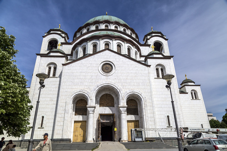 Belgrade, Serbia - April 18, 2016: The Serbian Orthodox Christian Church of St Sava built where remains of founder of the Serb Orthodox Church -Saint Sava- were burned. The dome is 70m high.