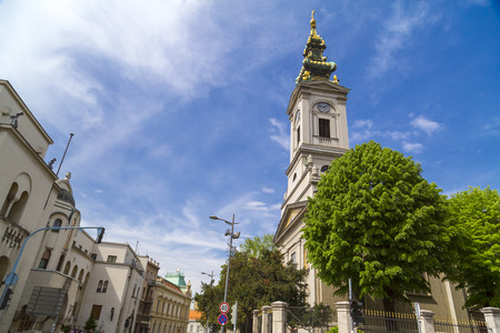 serbia xmas: Belgrade, Serbia - April 18, 2016: Exterior view of the Cathedral Church of St. Michael the Archangel in Belgrade - Serbia