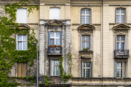 heads old building facade: Classic architectural detail in Belgrade, the Serbian capital Stock Photo