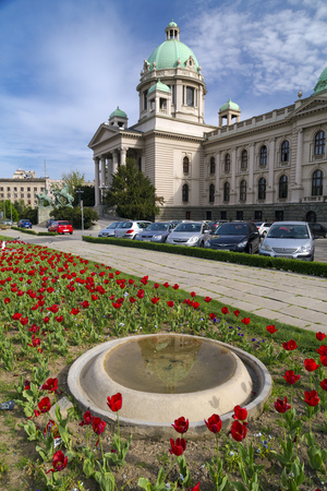 yugoslavia federal republic: Belgrade, Serbia - April 18, 2016: Exterior view of the Serbian House of the National Assembly building where the national assembly convenes, located on Nikola Pasic Square in downtown Belgrade. Editorial