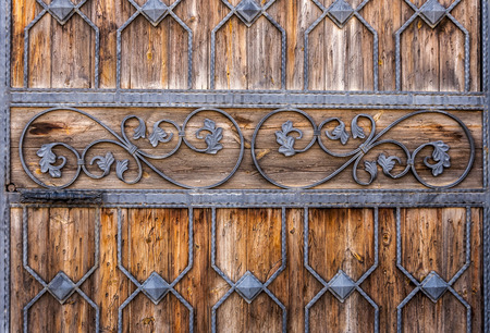 Carved wooden door detail texture Stock Photo