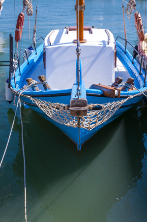woden: Old wooden row boat on water