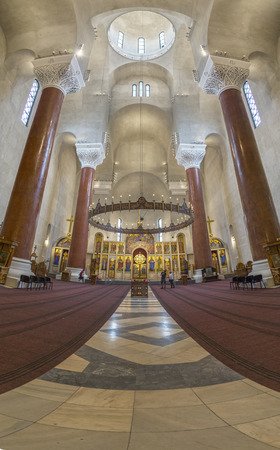 serbia xmas: Belgrade, Serbia - April 17, 2016: Interior view of Saint Marks Orthodox church in Tashmajdan Park, Belgrade. The church in Serbo-Byzantine style was completed in 1940.