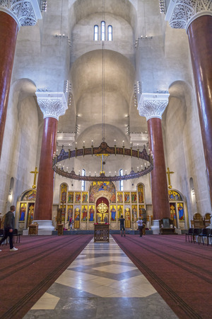 serbia xmas: Belgrade, Serbia - April 17, 2016: Interior view of Saint Marks Orthodox church in Tashmajdan Park, Belgrade. The church in Serbo-Byzantine style was completed in 1940.