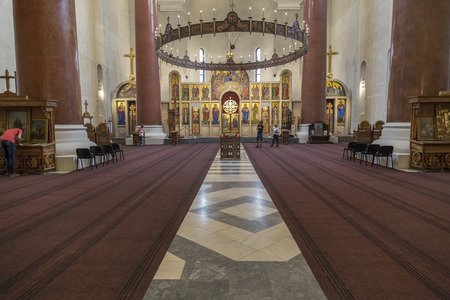 saint marks: Belgrade, Serbia - April 17, 2016: Interior view of Saint Marks Orthodox church in Tashmajdan Park, Belgrade. The church in Serbo-Byzantine style was completed in 1940.