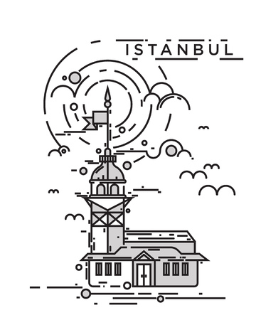 Trendy flat line, thin line vector illustration of the Maiden Tower, the famous landmark of Istanbul city, Turkey. Conceptual and contemporary poster design