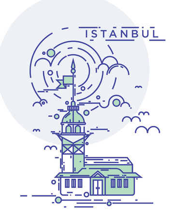 city building: Trendy flat line, thin line vector illustration of the Maiden Tower, the famous landmark of Istanbul city, Turkey. Conceptual and contemporary poster design Illustration