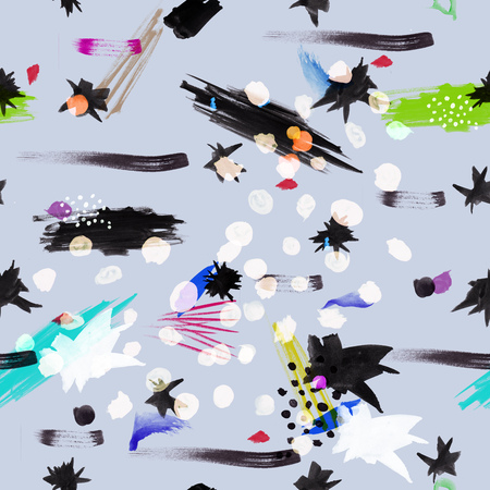 black fabric: Seamless pattern design with random watercolor or ink splashes, dots, lines, brush strokes and abstract shapes, hi-res background for web and print