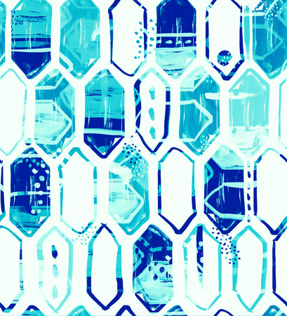 mingle: Seamless pattern design with watercolor vertical hexagons, dots, lines, brush strokes and abstract shapes, hi-res background for web and print