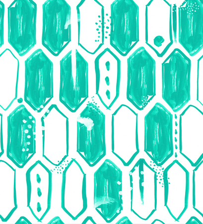 teal background: Seamless pattern design with watercolor vertical hexagons, dots, lines, brush strokes and abstract shapes, hi-res background for web and print