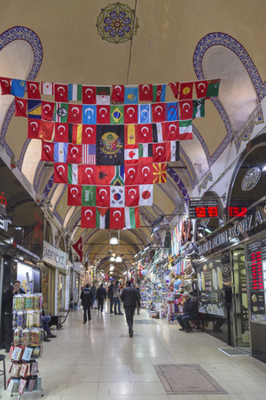 grand sale: Interior view from the Grand Bazaar (Kapali Carsi) and people walking and shopping, Istanbul, Turkey
