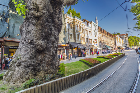 eminonu: Istanbul, Turkey - May 7, 2016: Street view and architectural detail from Eminonu, the historical and touristic district of Istanbul, European side in Fatih area on May 7.