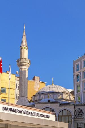 Istanbul, Turkey - May 7, 2016: Koca Mustafa Pasha Camii, a little mosque near the famous Sirkeci Railway Station and Marmaray metro station, Sirkeci, Istanbul.