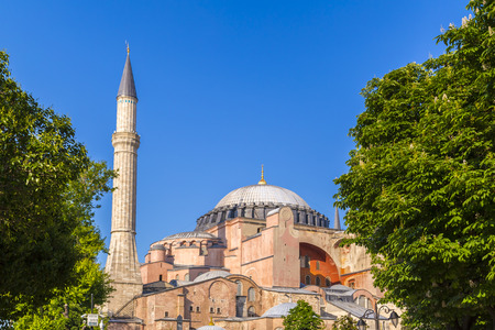 significant: Hagia Sophia Museum, one of the most significant landmarks in Istanbul. Built as a cathedral in 537 AD. Taken on October 15, 2014 in Istanbul. Editorial
