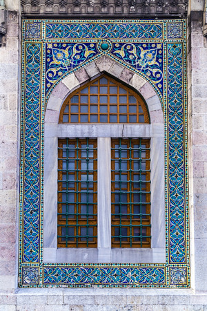 iznik: Old mosque window with blue Turkish Iznik tiles
