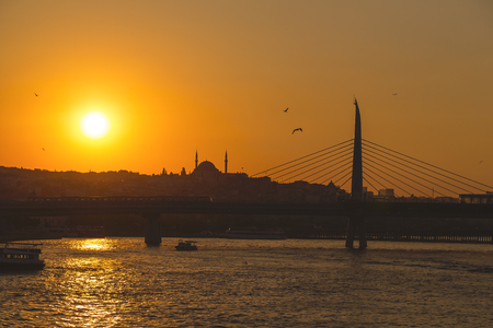 eminonu: Sunset view in Eminonu district, one of the most popular and touristic areas of Istanbul