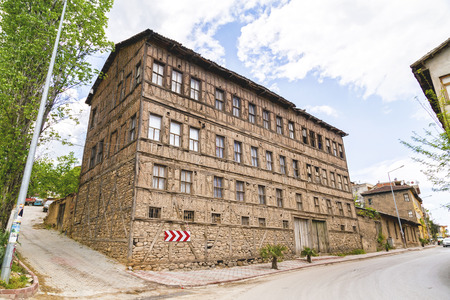 old town house: Bursa, Turkey, May 2, 2016: Old Greek style mud brick house in Soloz town near Orhangazi in Bursa Province of Turkey, classic Greek architecture remaining in Turkish villages. Editorial