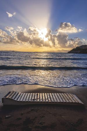 townscape: Sunset view from Gumusluk Bay (Myndos), Bodrum, Turkey. Turkish Riviera coastline and townscape view