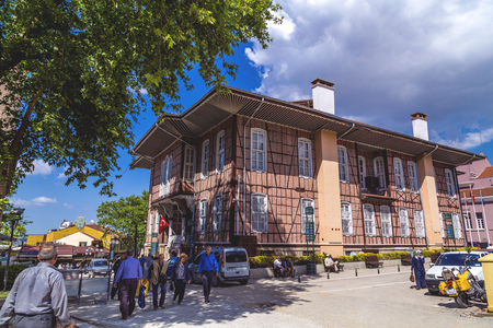 Bursa, Turkey - May 17, 2016: Exterior view of the old building of Bursa municipality. The house was built in 1879, and was opened to public in 1997.