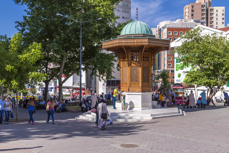 starigrad: Bursa, Turkey - May 17, 2016: The Bosnian Starigrad friendship fountain in Sehrekustu Square, Bursa, Turkey on May 17. Bursa and Sarajevo have the identical fountains as a sign of fraternity. Editorial