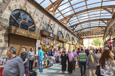 Bursa, Turkey - May 17, 2016: Old Grand Bazaar, covered shopping complex built in Ottoman Empire period in Bursa, Turkey's 4th largest city.