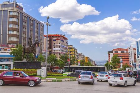 ottoman empire: Bursa, Turkey - May 17, 2016: View of Sehrekustu Square in Bursa with the statue of Osman Bey, the founder of the Ottoman Empire. Bursa is the 4th largest city of Turkey in southwest Marmara region.