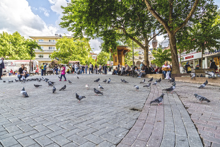 the marmara: Bursa, Turkey - May 17, 2016: View of Sehrekustu Square in Bursa with the statue of Osman Bey, the founder of the Ottoman Empire. Bursa is the 4th largest city of Turkey in southwest Marmara region.