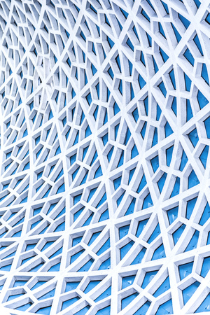 grid pattern: Architectural detail texture background with oriental style hexagonal grid pattern Stock Photo