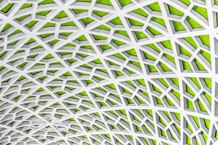 green backgrounds: Architectural detail texture background with oriental style hexagonal grid pattern Stock Photo