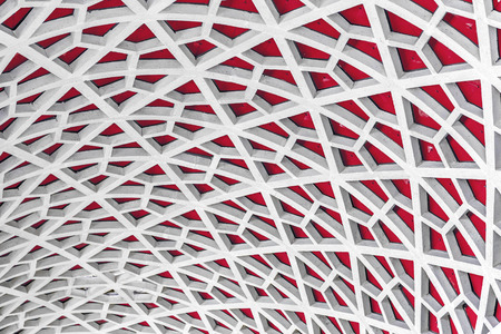 vertex: Architectural detail texture background with oriental style hexagonal grid pattern Stock Photo