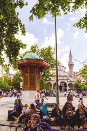 fraternity: Bursa, Turkey - May 17, 2016: The Bosnian Starigrad friendship fountain in Sehrekustu Square, Bursa, Turkey on May 17. Bursa and Sarajevo have the identical fountains as a sign of fraternity. Editorial