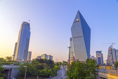 Istanbul, Turkey - May 24, 2016: Modern district of Levent, Istanbul. Levent is a financial center of the city with skyscrapers, shopping malls and business offices. Editorial