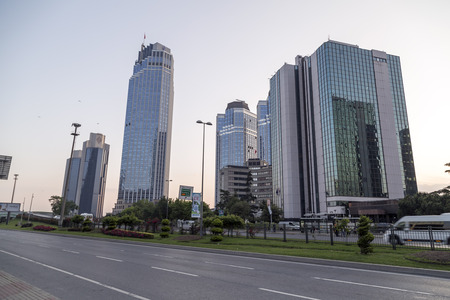 modern building: Istanbul, Turkey - May 24, 2016: Modern district of Levent, Istanbul. Levent is a financial center of the city with skyscrapers, shopping malls and business offices.