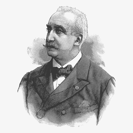 drover: Vector engraving portrait of Felix Faure, a former president of the Republic of France. Published in Le Journal Illustre magazine in January 1900, Paris, France.