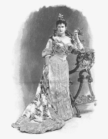 vintage fashion: Engraved portrait of Duchess Marie of Mecklenburg-Schwerin. Published in Journal de Debat in 1911, Paris, France.