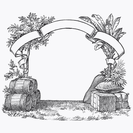 old frame: Vintage barrel engraving, ephemeral vector illustration