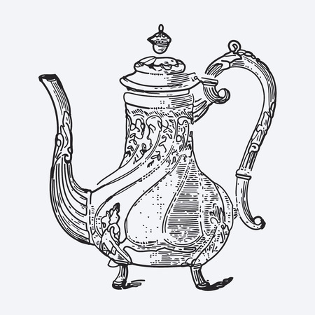 Vintage tea pot engraving, ephemeral vector illustration