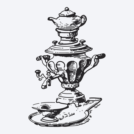 ephemeral: Vintage tea pot engraving, ephemeral vector illustration