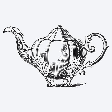vector illustration: Vintage tea pot engraving, ephemeral vector illustration