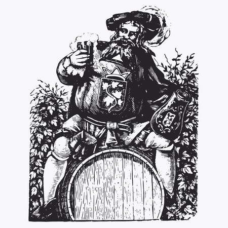 anciano: grabado barril de la vendimia, ilustración vectorial efímera