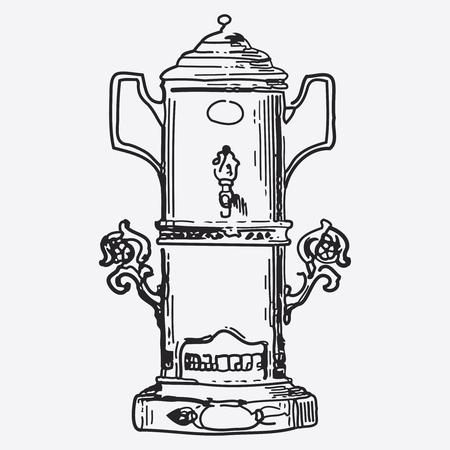 tea pot: Vintage tea pot engraving, ephemeral vector illustration